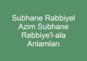 Subhane Rabbiye'l-ala
